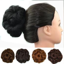 Wholesale Curly Clip Hairpieces - Sara Bride Chignon Hair Bun Curly 12CM*12CM 50G Synthetic Hair Bun Elastic Chignon Brown Black Hair Buns Hairpieces Rubber Band Clip-in