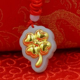 Wholesale Nephrite Jade - Wholesale Four-leaf clover style 4D gold Hetian jade Nephrite pendant natural jade fashion jewelry lockets charms