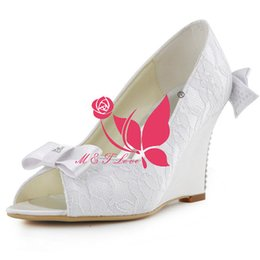 Wholesale Ivory Lace Wedding Wedges - Brand New Cheap Shoes Lace Wedges Bridal Beads Shoes Peep Toe Wedding & Party Shoes WS0123W Customise Size 33 to 43.