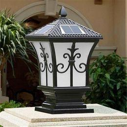 Wholesale White Solar Lamp Post - Solar power led post lights super bright outdoor waterproof garden lights LED solar lights home post lamps outdoor villa deck yard