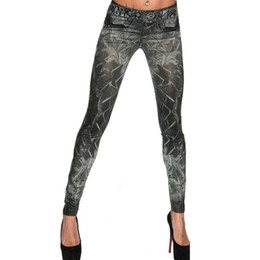 Wholesale Denim Leggins - Wholesale-Hot 2016 Women Strechy Legging Sexy Tatoo Print Sports Casual Workout Pants Denim Look Thin Skinny Black Leggins Femme 1LE9059