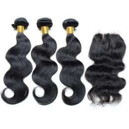 Wholesale Peruvian Hair 1pcs - Peruvian Body Wave with Closure 8-30inch remy human hair 3 pcs Weft & 1pcs Closure 8A peruvian weave closure free shipping