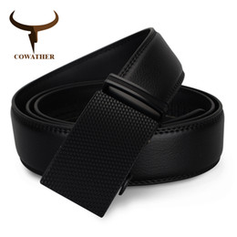Wholesale Wholesale Quality Leather Belts - Wholesale- COWATHER luxury top cow genuine leather belt men high quality mens belts automatic buckle waistband for male strap free shipping
