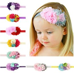 Wholesale rose ornament - Baby Girls elastic Flower headbands Big Rose paillette Rhinestone Hairbands Infant Kids Hair Accessories Ornaments Head bands 8 Colors KHA11