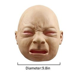 Wholesale Baby Face Mask Adult - 2017 Newest Crying Baby Face Mask Realistic Halloween Latex Overhead Crying Baby Mask Fancy Dress Props Party Mask