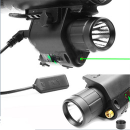 Wholesale Torches For Rifles - Tactical 532nm Green Dot Laser Sight Combo 200 Lumen LED CREE Flashlight Torch For Rifle Airsoft