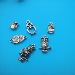 Wholesale Tibetan Owl Necklace - Mixed Tibetan Silver owl Charms Pendants Jewelry Making Bracelet Necklace Fashion Popular Jewelry Accessories DIY V161