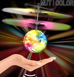 Wholesale Mini Electric Cables - Mini Fun Kids Toy New Arrival Flying Crystal Ball LED Flashing Stage Light Aircraft Helicopter For Home Entertainment 6Colors choose free