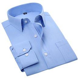 Wholesale Cotton Spreads - Wholesale-2016 Men's Long Sleeve Regular Fit Poplin Dress Shirt Blue-Solid Spread Collar Cotton Blend Unelastic Business Formal Work Shirt