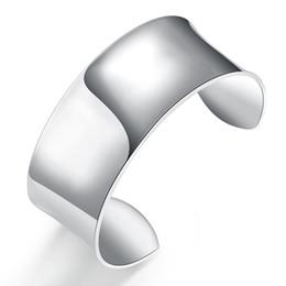 Wholesale Wide Sterling Bangle - Lose Money! Wholesale 925 Jewelry Silver Plated Bangle Bracelet Sterling Silver Plated Very Big Bangle Wide Statement Bracelet Silver Cuff