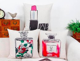 Wholesale Lipstick Massager - Fancy Perfume Lipstick Charm Women Glamour Classic Emoji Pillow Massager Decorative Pillows Case Euro Home Decor Beauty Gift