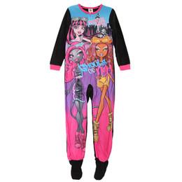 Wholesale Girls Onesie Pajamas - 2016 Kids Clothing New girls long sleeve One-Piece polyester rompers onesie footed pajamas sleepwear blanket sleeper MONSTER HIGH 8pcs lot