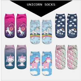 Süße tier knöchelsocken online-Women Unicorn Socks 3D printing Ankle cartoon Animal food print Hip Hop Socks Cute Unicorn Art Socks KKA2821