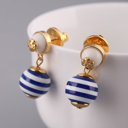 Wholesale Gold Plated Brass Stud Earrings - Brand name blue strip Pearl beads in 1.1cm stud Earring 18k gold plated women top quality jewelry Blue color free shipping PS567