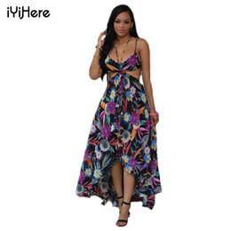 Al por mayor-Mujeres de la playa de verano Maxi Dress 2016 Sexy Halter Strap Backless Boho de la gasa de la impresión de largo vestido a través ver más el tamaño XXXL desde fabricantes