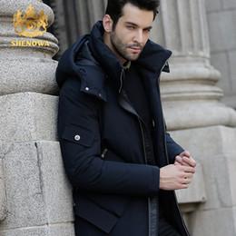blauer daunenmantel Rabatt Großhandels-Männer neue Jacke Daunenjacken Blau  verdickt Daunenmantel SHENOWA 2017 Winterjacke Männer 91cd03af73