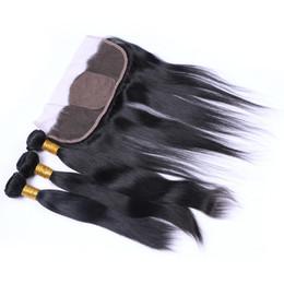 Pacotes de cabelo humano direto em linha reta com base de seda frontal livre Parte 13X4 Fechamento de seda base frontal em branco com pacotes em ações de