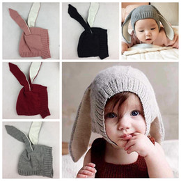 infant bunny hat Coupons - Winter Baby Rabbit Ears Knitted Hat Infant bunny Caps For Children 0-3T Girl Boy hats Photography Props 4 colors
