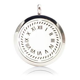 Wholesale Clock Locket Necklaces - 316L Stainless Steel Aromatherapy Essential Oil Diffuser Necklace Clock Locket Pendant with Ajustable Chain and 6 Refill Pads
