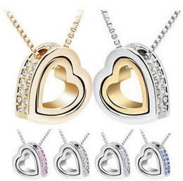 Wholesale Double Heart Alloy Crystal Necklace - Contracted Double Heart Necklace New lovely Crystal Pendant Inlaid Rhinestones double heart attraction heart-shaped pendant necklace