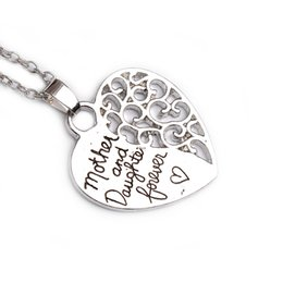 Wholesale Wholesale Vintage Stamping Jewelry - Fashion Mother and Daughter Forever Vintage Engraved Letters Pendant hollow Love Heart Charms Necklaces Hand Stamped Jewelry 12PCS LOT