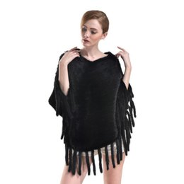 Wholesale Mink Fur Capes - Brand New Women's Mink Fur Shawl Cloak Cape Coat With Tassels 1 Pc Free Shipping[TP99068]