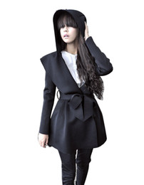 Wholesale Hot Womens Trench Coats - Hot Sale Stylish Womens Cotton Hooded Trench Coat Hoodie Overcoat Dress Style Tops Outerwear Jacket Black light Apricot Free Ship