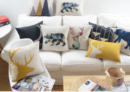 Wholesale Deer Stag - Free shipping geometric triangles deer stag elephant bear I love you to the moon and back words pattern Cushion Cover decorative pillow Case