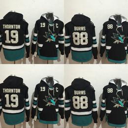 Wholesale Grey Sweatshirts - San Jose Sharks Hockey Hoodie #19 Joe Thornton #88 Brent Burns Jerseys Men's 100% Stitched Embroidery Logos Hockey Sweatshirt Mix Order