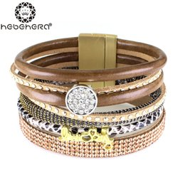 Wholesale Top Handmade Bracelets For Women - Wholesale-New Arrive Luxury Bohemia Handmade Full Stone Top Quality Shining Leather Bracelets Bangles for Women brazaletes pulseras mujer
