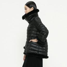 Wholesale Rabbit Fur Coat Outerwear - Wholesale-New 2016 Fashion Ladies Down Short Design Coat Winter Short Down Jacket Women Removable Rabbit Fur Cloak Down Outerwear