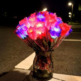 Wholesale Glow Toys Flower - Light-up Flowers Toy Led Lighting Festival Flower Toy Gift Romantic Glowing Rose Flower for Wedding Supplies ZA4971