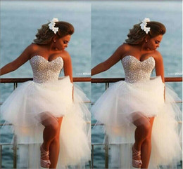 Wholesale Homecoming Puffy Dress - Hi Lo prom dress with pearls beaded sweetheart bodice Puffy tulle skirt cocktail homecoming luxury party gowns graduation dresses