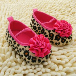 Wholesale Peony Shoes - Wholesale- 0-18Months Kids Baby Girls Leopard Shoes Peony Flower Infant Toddler Crib Shoes New