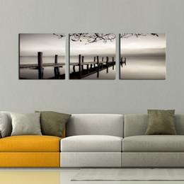 peintures à l'huile de qualité femmes Promotion 3 panneaux noir et blanc Paysage Giclées sur Toile Art Murale Modern Pictures Peintures Artwork for Living Room Bedroom