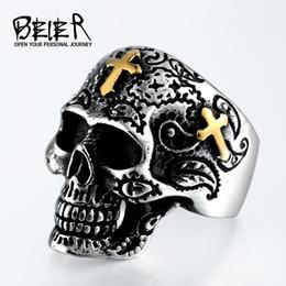 Wholesale Stainless Steel Cross Skull Rings - BEIER Cool Gold Cross Skull Ring For Man 316L Stainless Steel Man's Punk Skull Jewelry Ring Wholesale Lots Cheap Price BR8-313