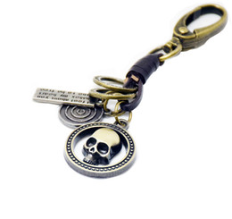 Wholesale Lions Keychain - Man Key Chains Cool Skeleton lion Head Scorpio Key Rings Findings Metal Genuine Leather Keychain Bronze Lobster Clasp