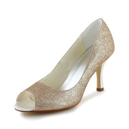 Wholesale Low Heel Gold Glitter Shoes - New Glitter Upper Women Wedding Shoes evening shoes in Gold Color High Heel Bridal Shoes Party Prom Women Shoes bridal shoes Size 35-42