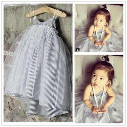 Wholesale Striped Tulle - 2016 Kids Girls Singlet Stripe Lace dress Baby girl Summer princess tutu dress babies clothes children's clothing