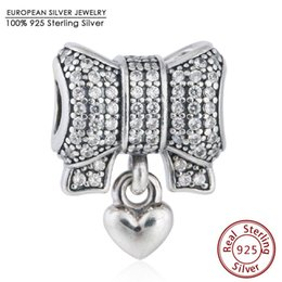 Wholesale Bow Charm Pandora - Pave CZ Bow Hearts Charm Beads Fits Pandora Bracelets 925 Sterling Silver Christmas Heart Bow-knot Bead Diy Winter Fine Jewelry
