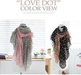 Wholesale Scarf Large Long - Women Lady Summer Winter Autumn Soft Long Pink Grey Dots Voile Neck Large Scarf Wrap Shawl Stole Scarve Pashmina Xmas Gift ZA0095
