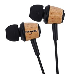 Wholesale Super Jacks - AWEI ES Super Bass Wooden Earphones In-ear Headset Fone De Ouvido 3.5mm Jack Earphone Match With All Audio Devices Perfectly +B