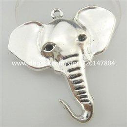 Wholesale Elephant Head Necklace - 19419 5pcs Vintage Silver Alloy Animal Africa Big Elephant Head Dangle Pendant Crafts Jewelry Fashion New