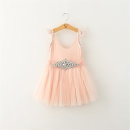 Wholesale Bright Kids Clothing - 2016 New Style Children Clothing Brand Girl Lace Flower Bubble Skirt Bright Drill Belt Princess Dress Kids Dress