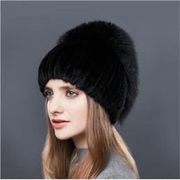 Wholesale Rhinestones High Quality - LUCKYFUR Real Fox Fur Hat Female Natural Mink Fur Women Winter Hats Vertical Rhinestones High Quality Beanies 2017 Fashion Caps