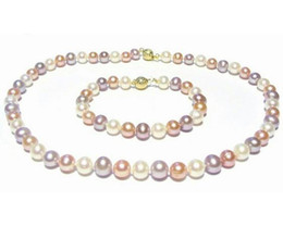 Wholesale Multi Color Beaded Bracelets - Charming 8-9mm Multi-color Pearl Necklace 18 inch 14k gold free Bracelet