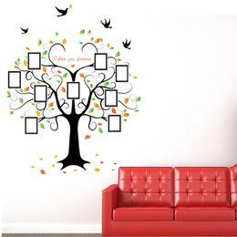 "Wholesale Korean Cartoon Love - DIY Modern Photo Frame Birds Love Heart Shape Tree Wall Stickers Bedroom Living Room Backdrop Decoration PVC Removable Wall Decor 80.3x63"""