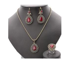Wholesale Wholesale Fashion Jewelry Turkey - Fashion Ruby Jewelry Set All Over Sky Star Austrian Crystal Ancient Bronze Three-Piece Wedding Accessories Turkey Jewelry