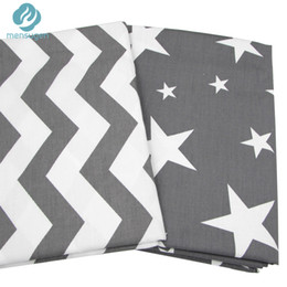 Wholesale Home Textile Cotton Fabric Material - 2pc 50*160cm Grey Stars Chevron Design Cotton Fabric for Home Textile Cushion Sewing Baby Quilts Fabric Home Decoration Material