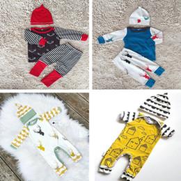 Wholesale Suit Pajamas Girl - 2016 New Autumn Kids Clothing Sets INS Boys Clothing Girls Outfits Long Sleeve T-shirts + Harem Pants + Hats 3pcs Baby Suits Newborn Pajamas